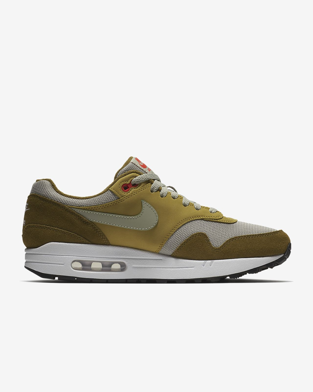 Nike Men's AIR MAX 1 PREMIUM RETRO Shoes Olive Flak/Spruce Fog 908366-300 c