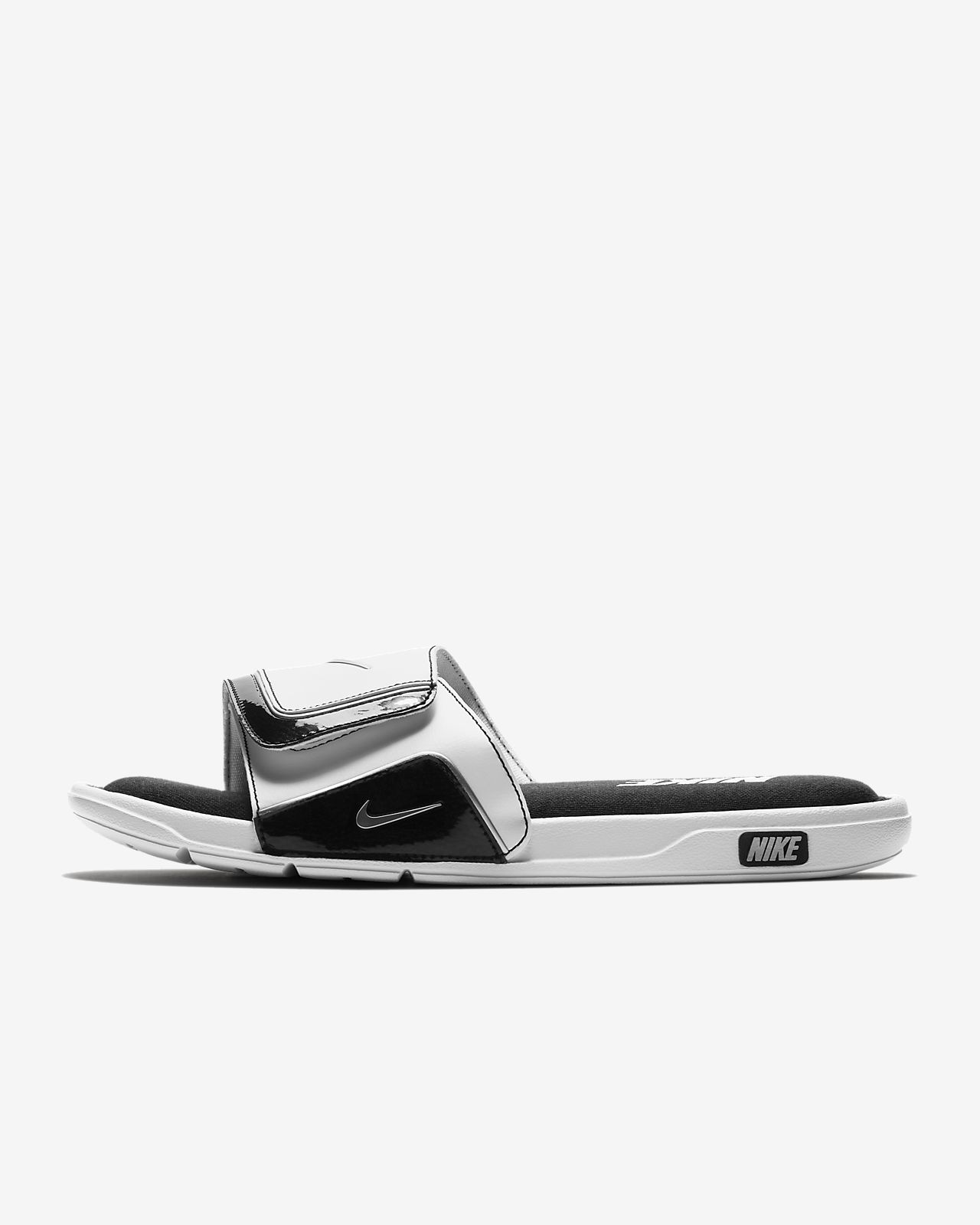 white silverwhite comfort womens sandals comforter nike trainer shoes silver mens blackmetallic black p lrg metallic s slide men