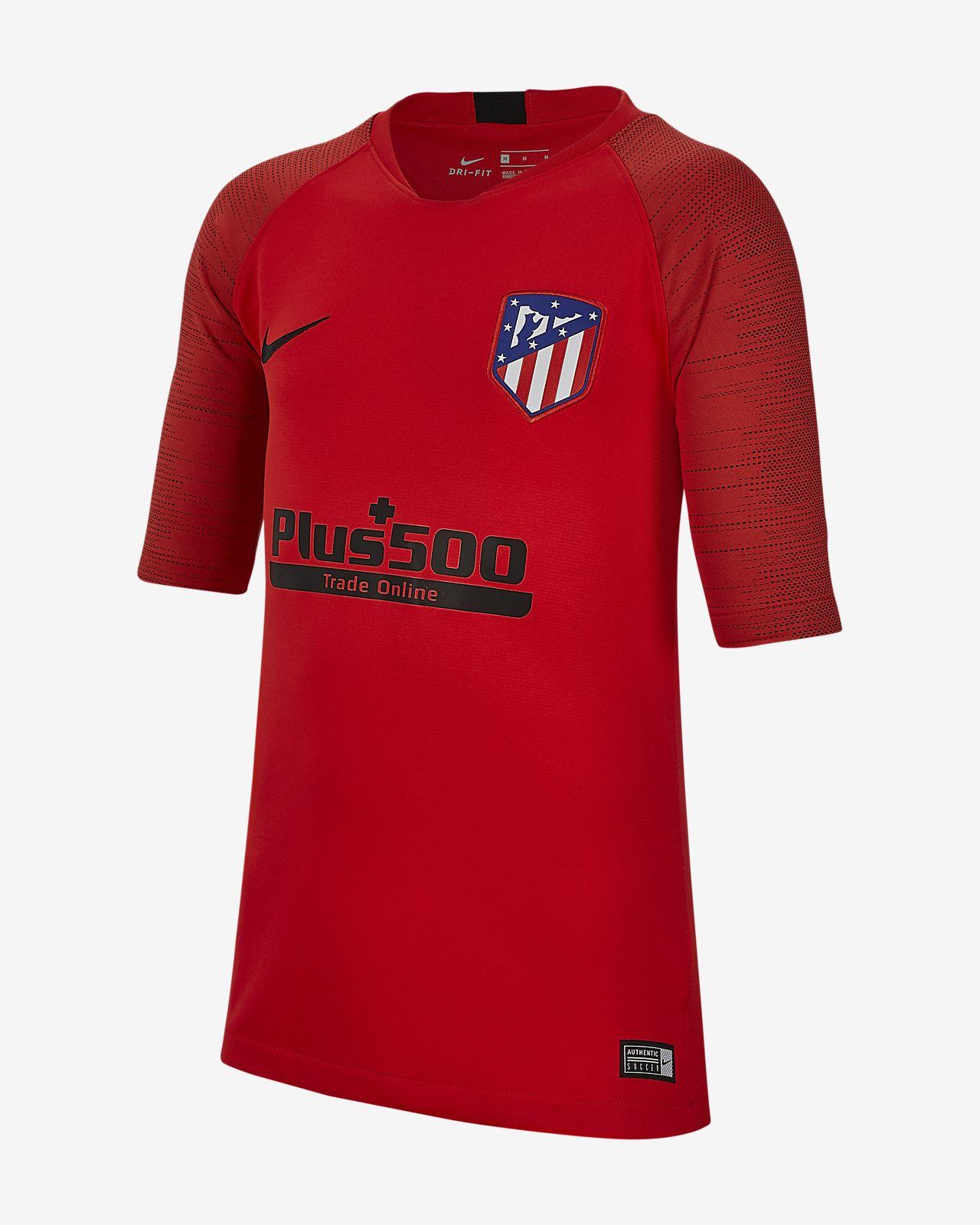 Fotbalové tričko Nike Breathe Atlético de Madrid Strike s krátkým rukávem pro větší děti