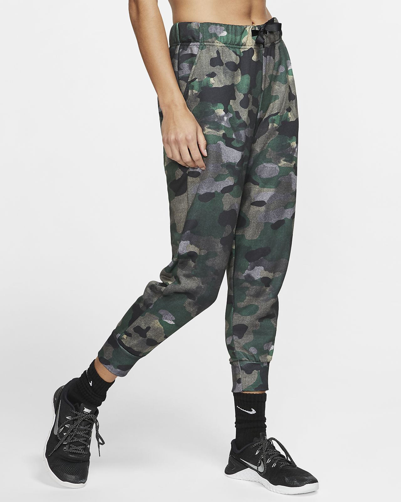 กางเกงเทรนนิ่งผ้าฟลีซผู้หญิง 7 ส่วน Nike Dri-FIT Icon Clash
