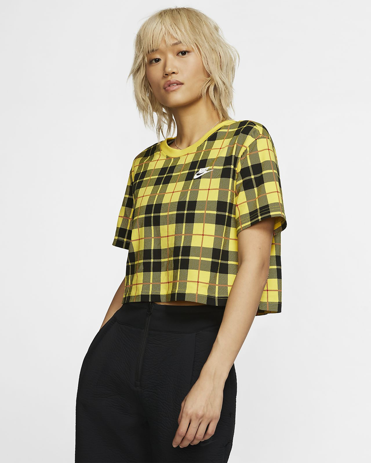 Nike Sportswear NSW Women's Cropped Checked T-Shirt