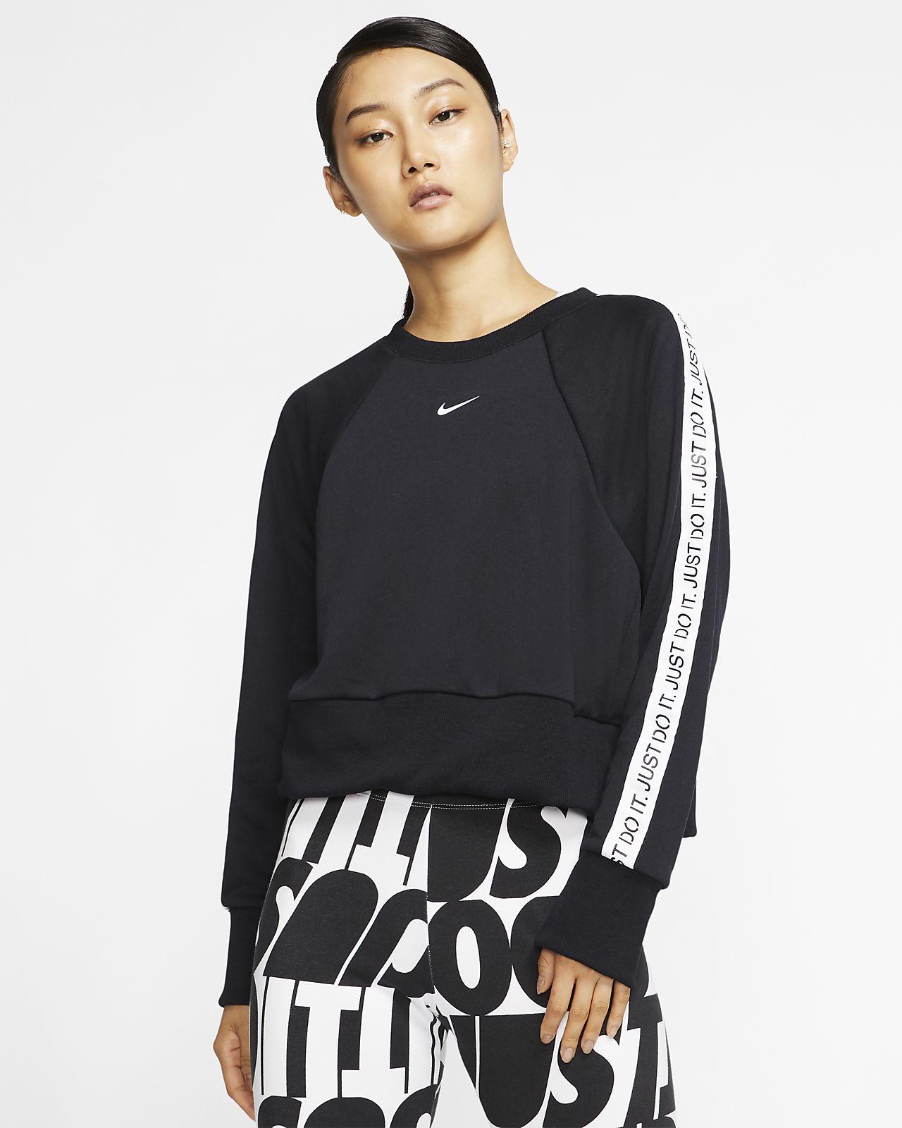 Nike Dri-FIT Get Fit JDI Trainingsshirt van fleece met ronde hals voor dames
