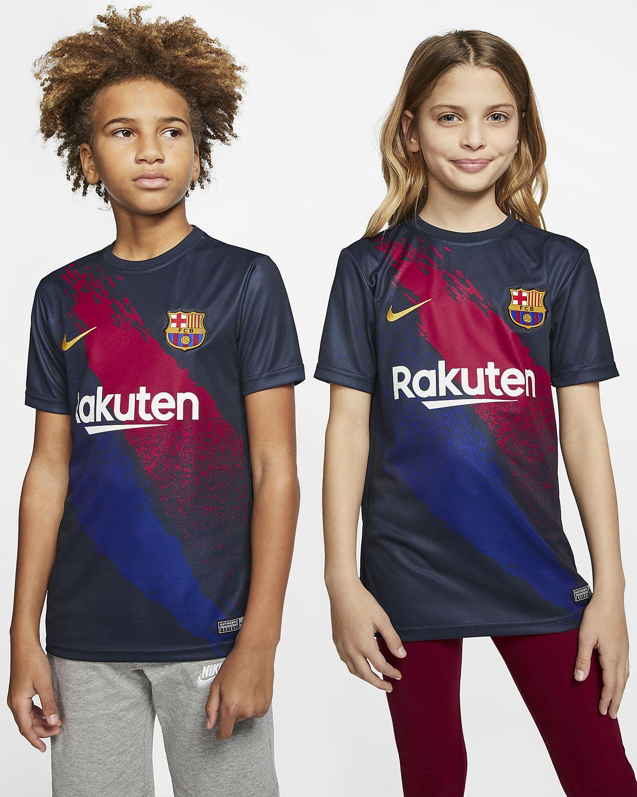 Prenda para la parte superior de fútbol de manga corta para niños talla grande FC Barcelona