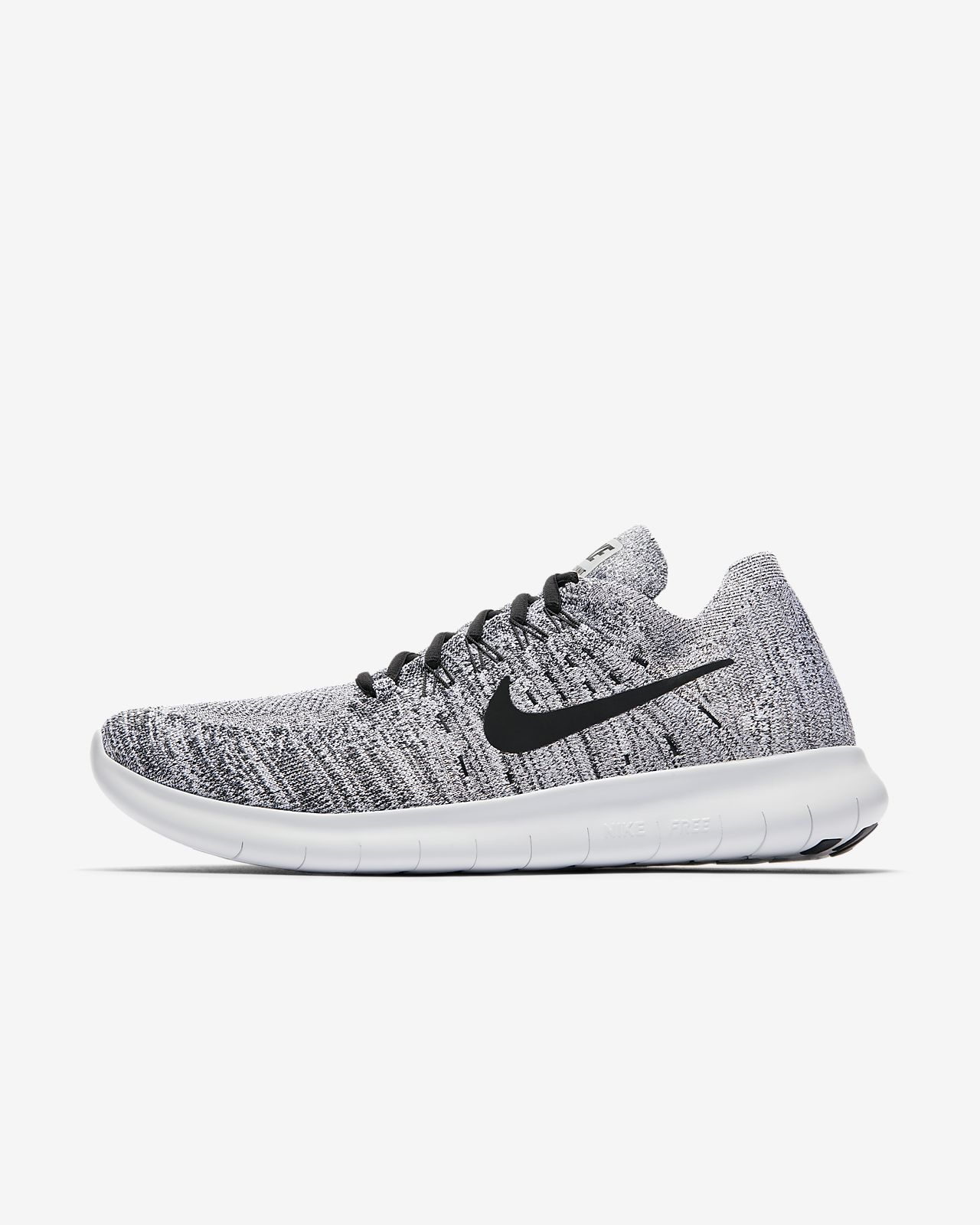 NIKE Women's Free Rn Flyknit 2017 Running Shoes Sneakers White Platinum Knit