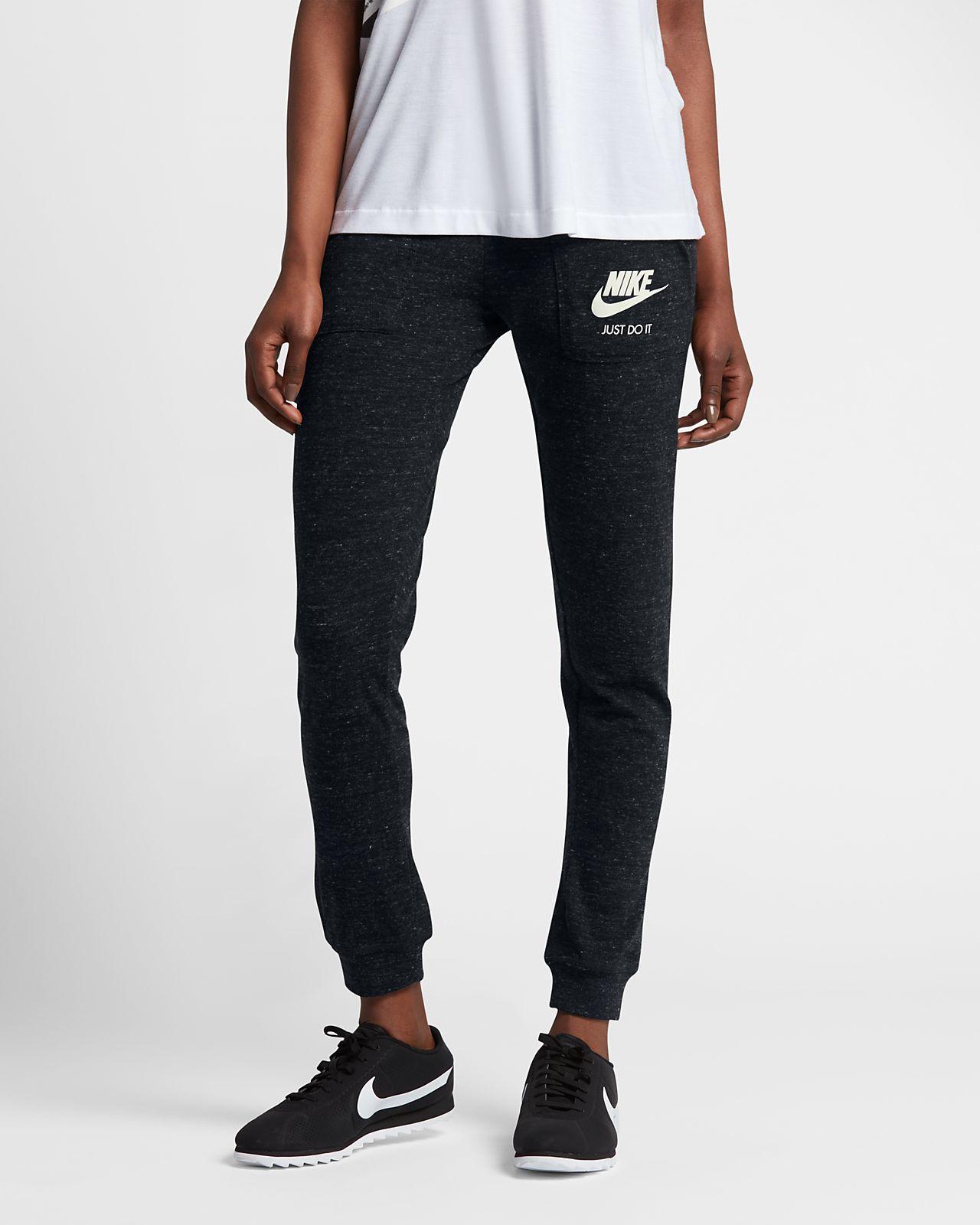 Spodnie dresowe damskie Nike Sportswear Gym Vintage szare bawełniane