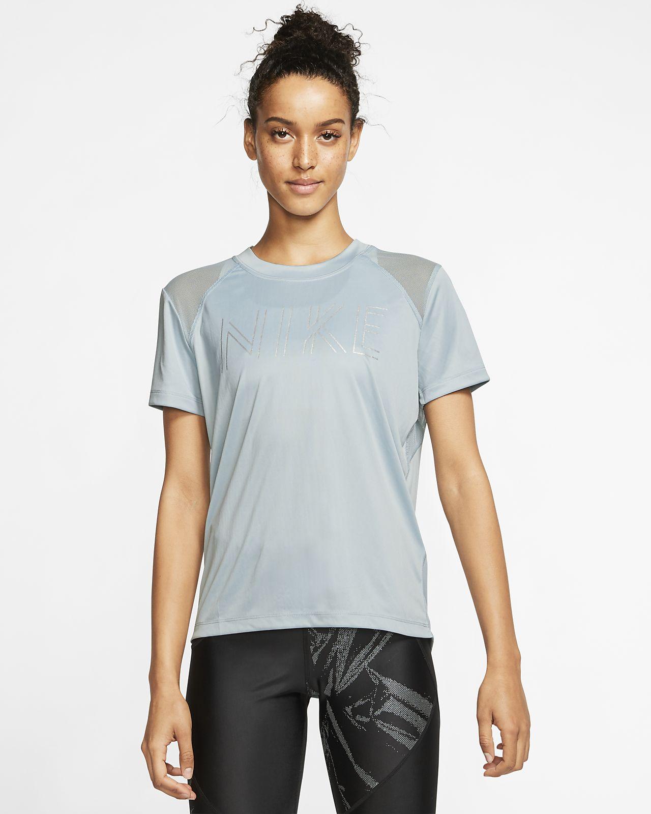 Haut de running métallisé à manches courtes Nike Dri-FIT Miler pour Femme