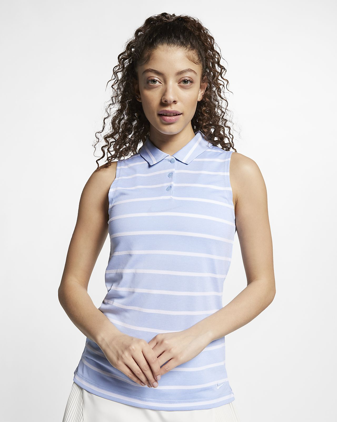 Nike Dri Fit Womens Sleeveless Striped Golf Polo Nike