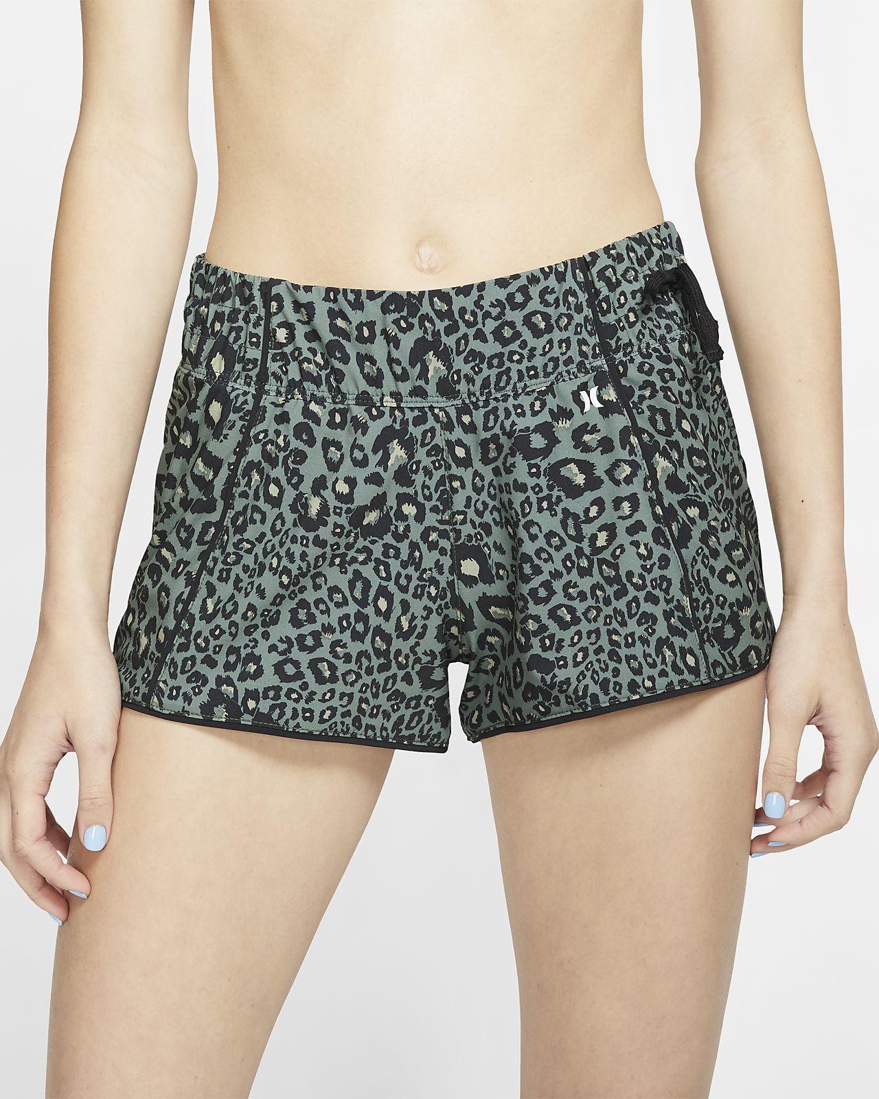 Shorts de playa con estampado de leopardo para mujer Hurley Phantom Waverider