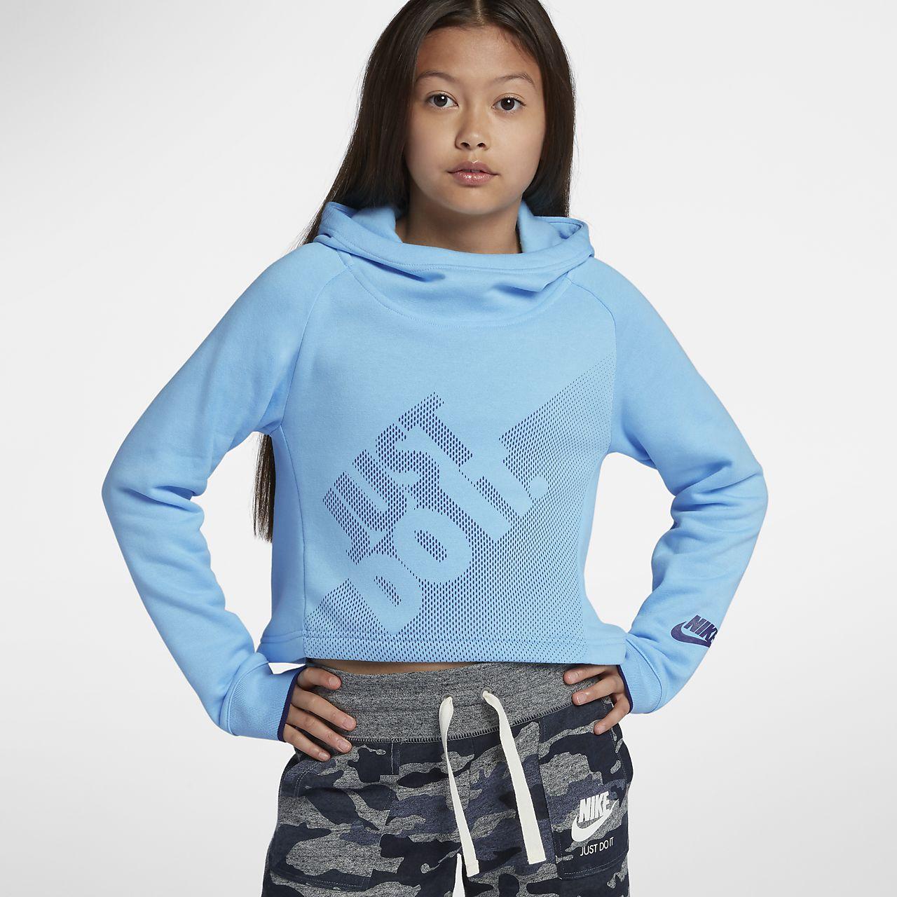 92c7428e3f Nike Sportswear Older Kids' (Girls') Cropped Pullover Hoodie. Nike ...