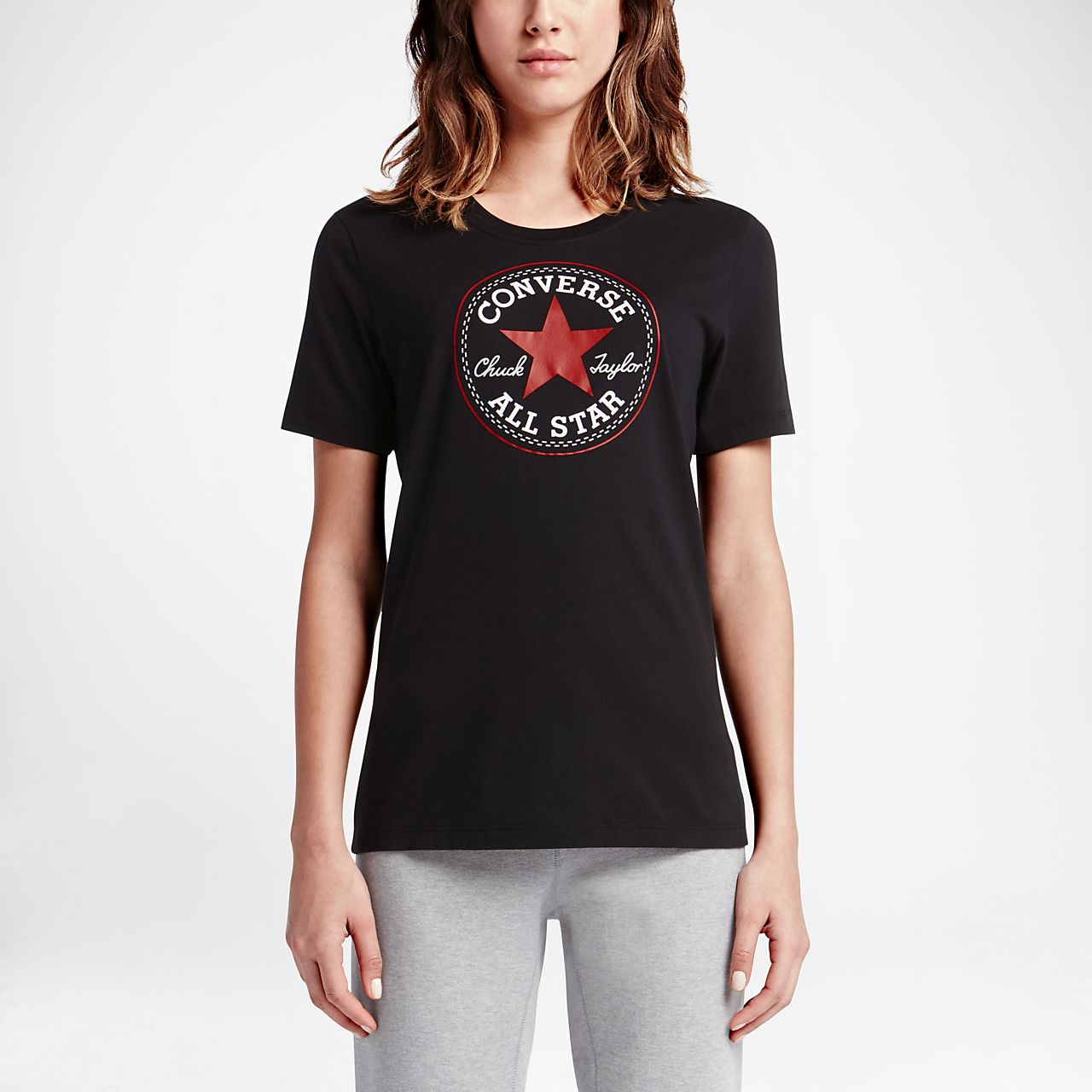 Converse Chuck Patch Women's T-Shirts Black