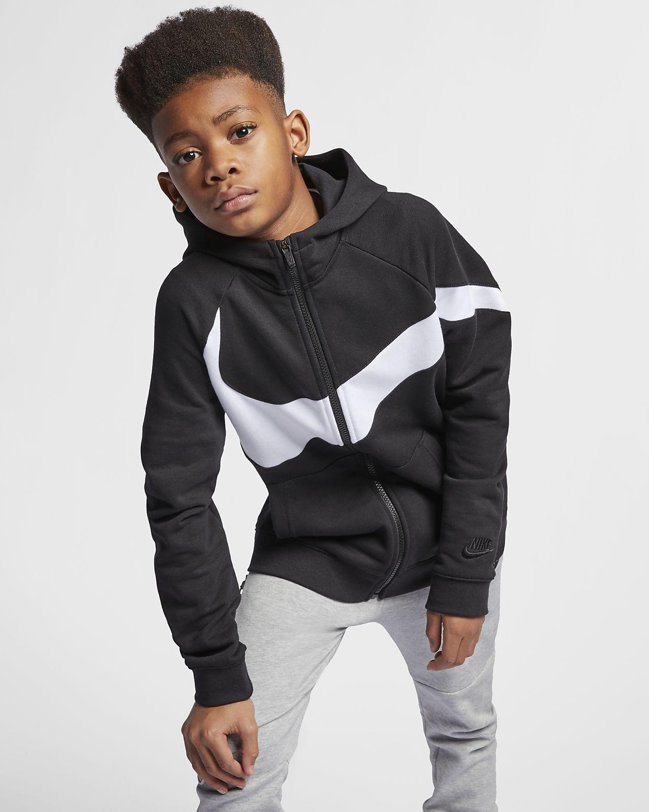 Nike NSW Hoodie Fleece Air SchwarzWeiß Kinder | www
