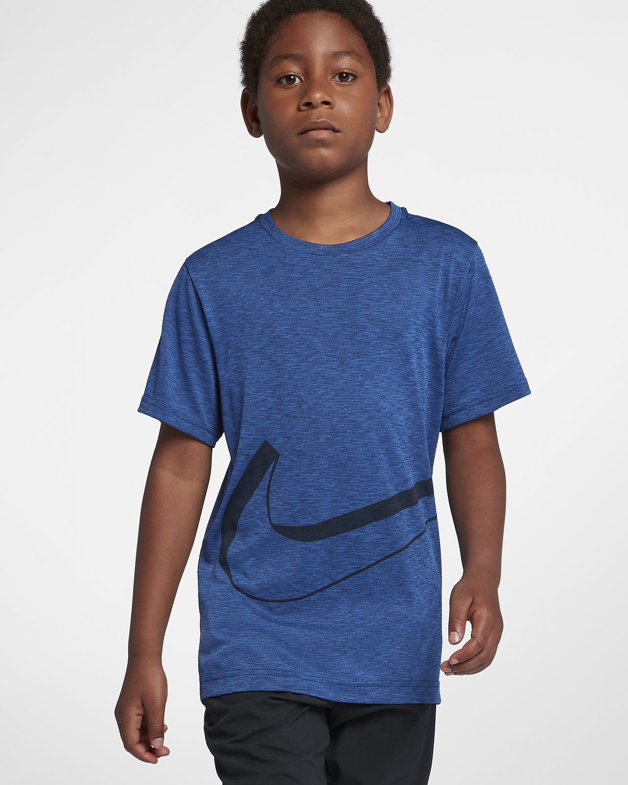Top de entrenamiento manga corta para niño talla grande Nike Dri-FIT Breathe