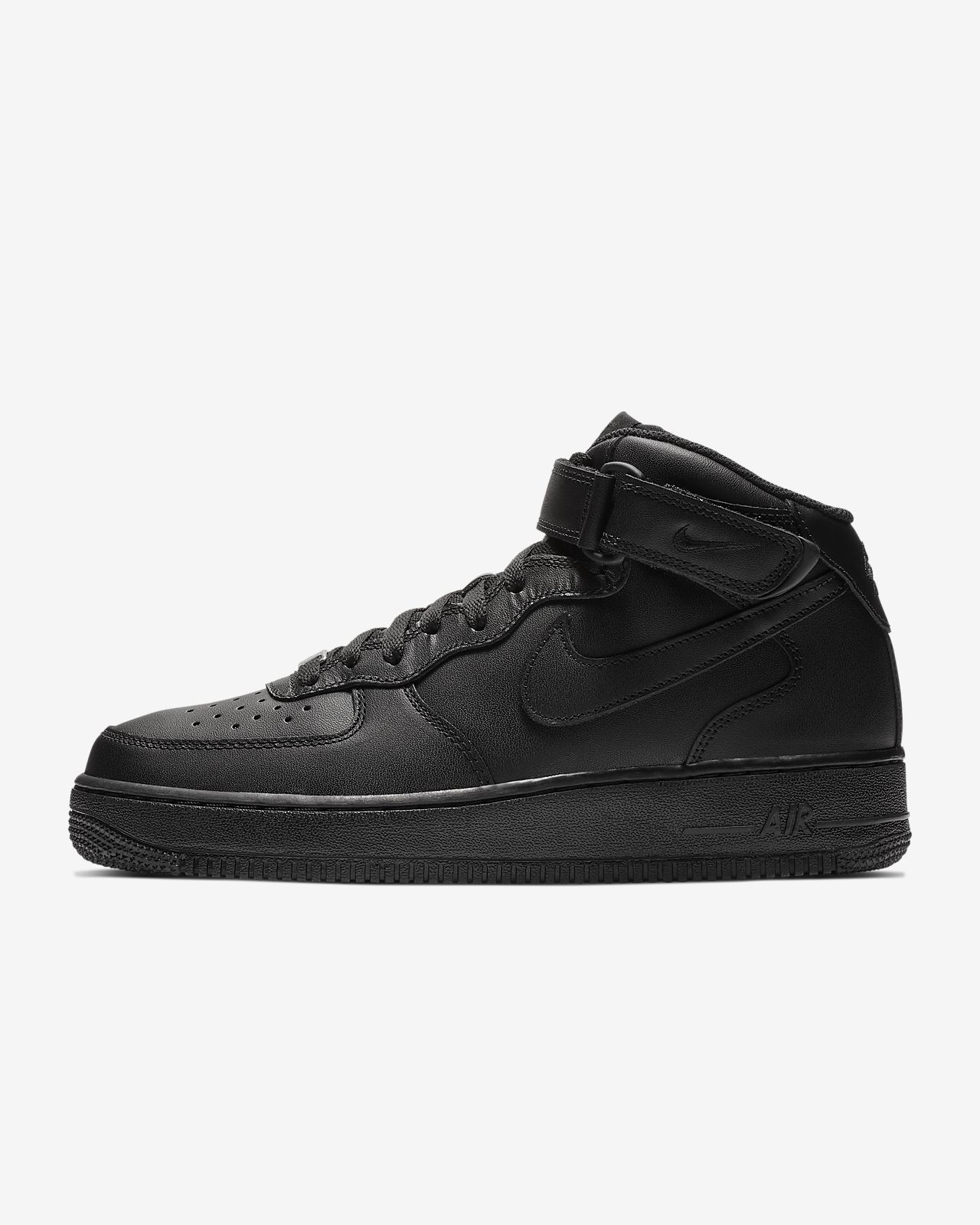 mens nike black air force 1 mid trainers on biggest