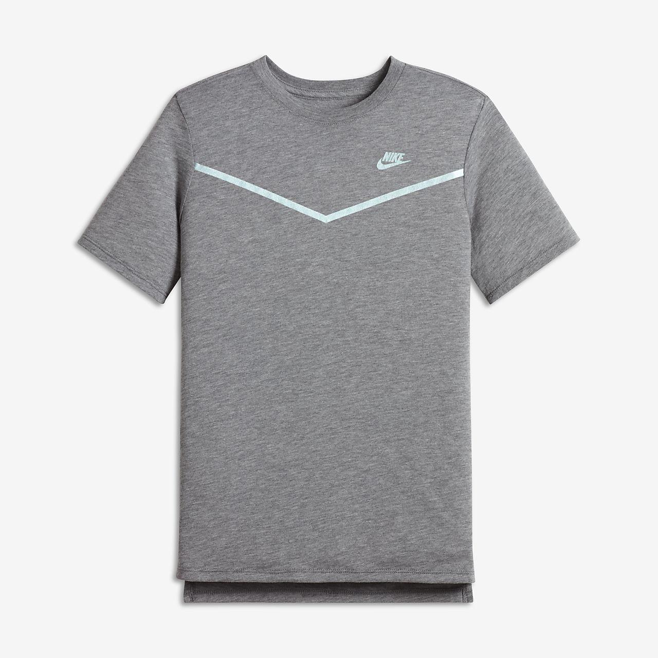 Nike Sportswear Tech Big Kids' T-Shirts Carbon Heather/Black