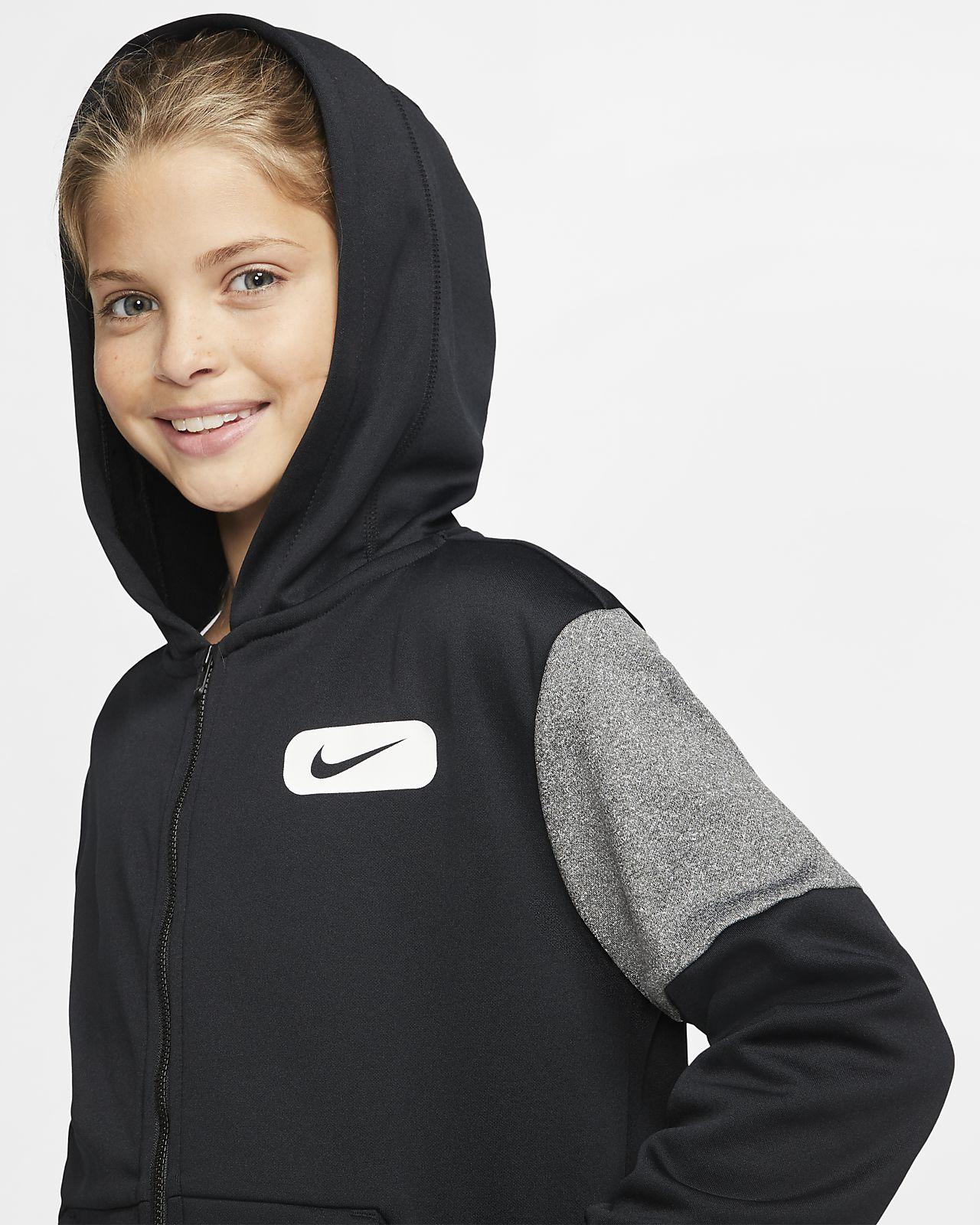 Nike Therma Big Kids' (Girls') Graphic Full Zip Training Hoodie