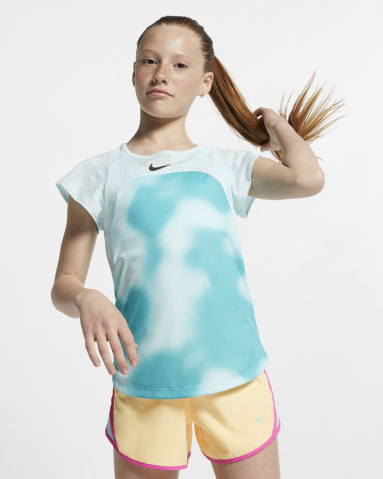 Nike Instacool 大童 (女童) 短袖跑步上衣