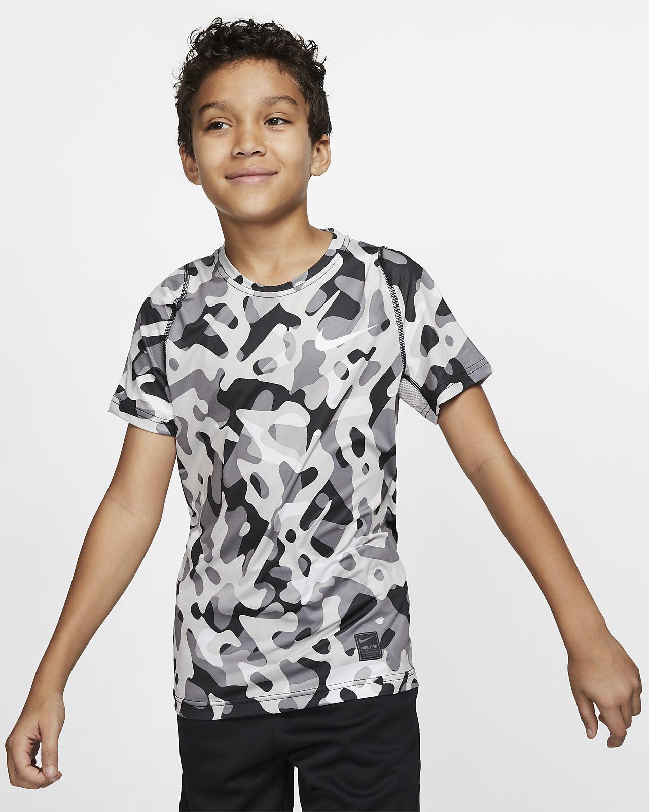 Nike Pro kortermet mønstret overdel til gutt