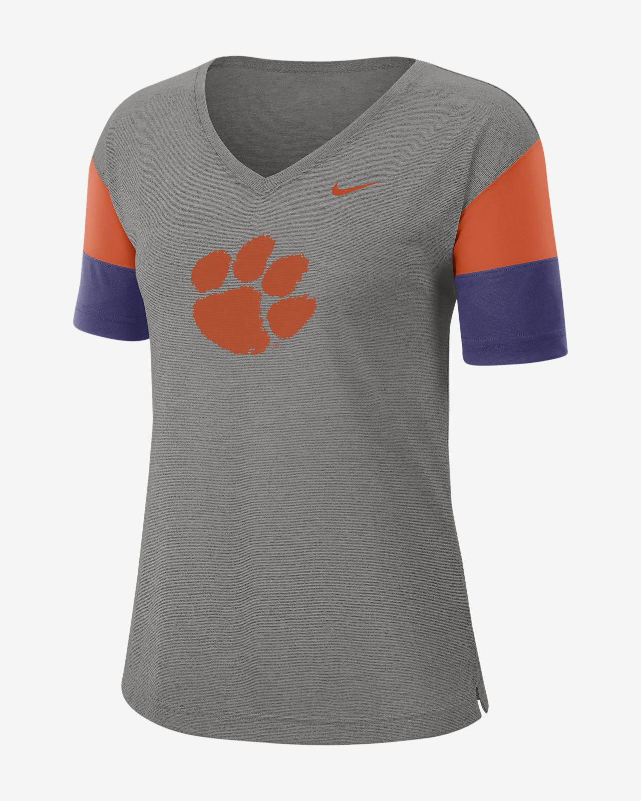 Nike College Breathe (Clemson) Women's Short-Sleeve V-Neck Top