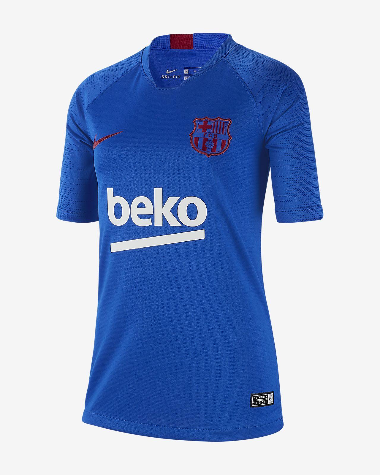 FC Barcelona Strike Kurzarm-Fußballoberteil für ältere Kinder