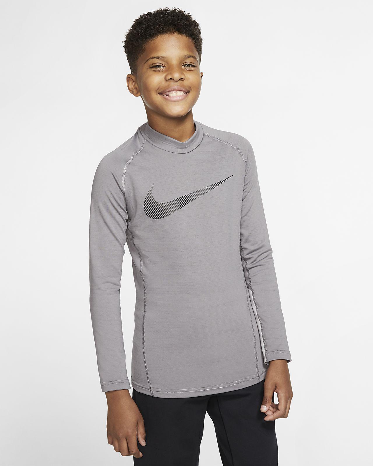 Nike Pro Therma Trainingstop met lange mouwen en opstaande kraag voor jongens
