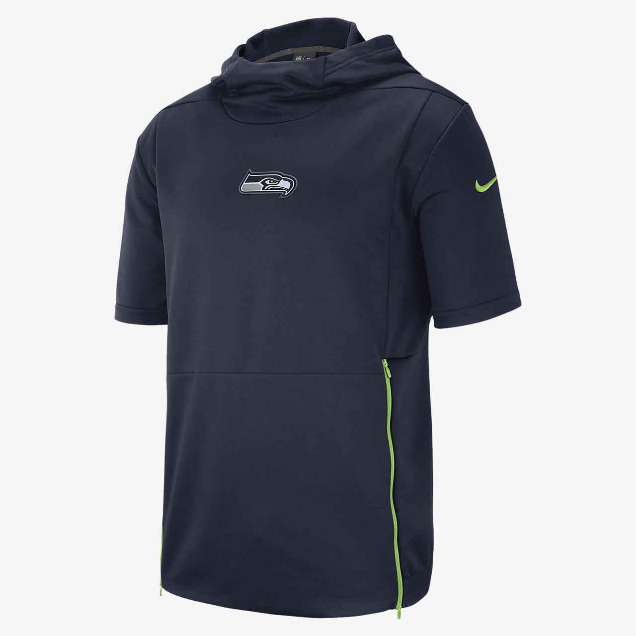 Nike Dri-FIT Therma (NFL Seahawks) Kurzarm-Oberteil mit Kapuze für Herren