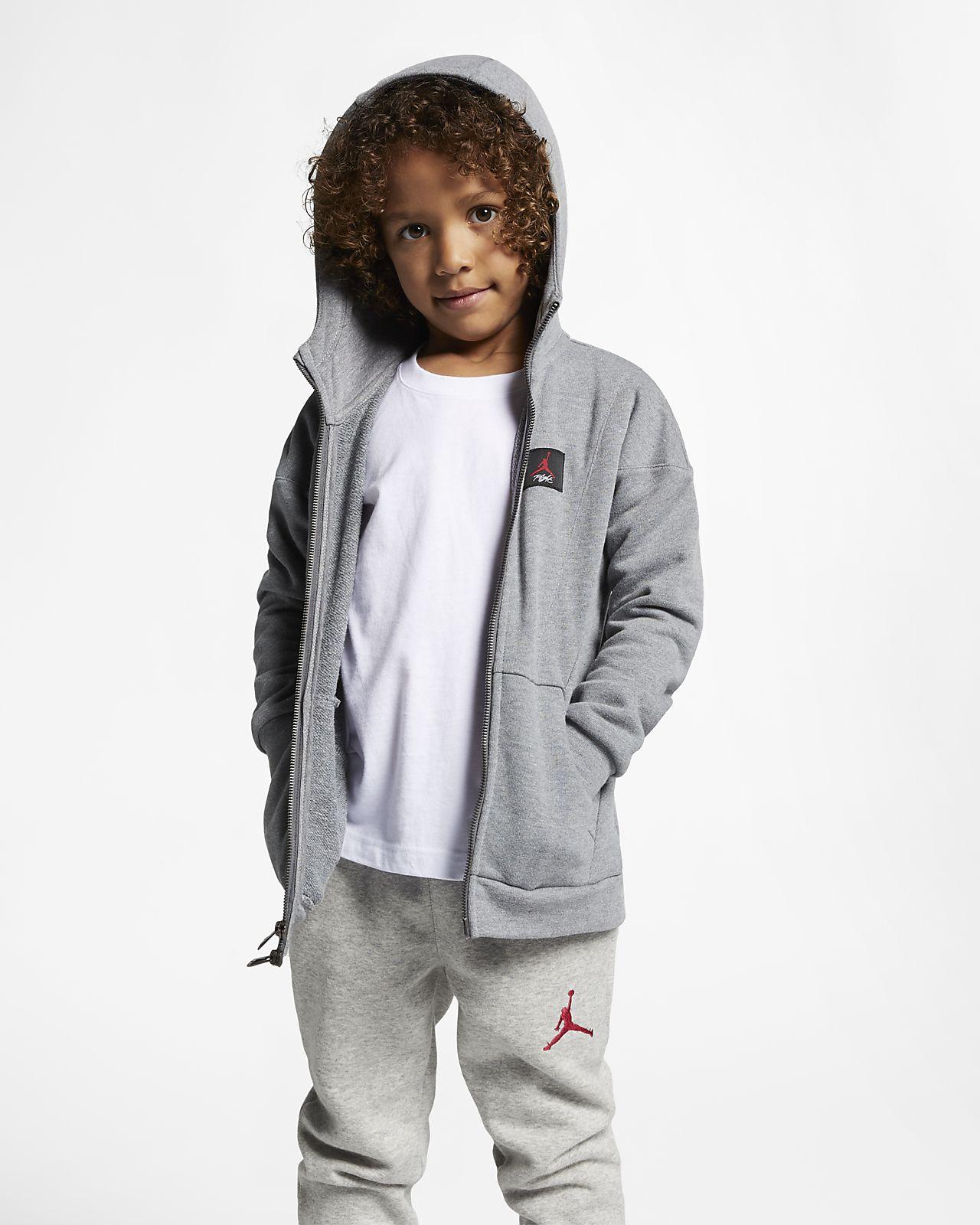 Mikina s kapucí a dlouhým zipem Jordan Flight Lite pro malé děti