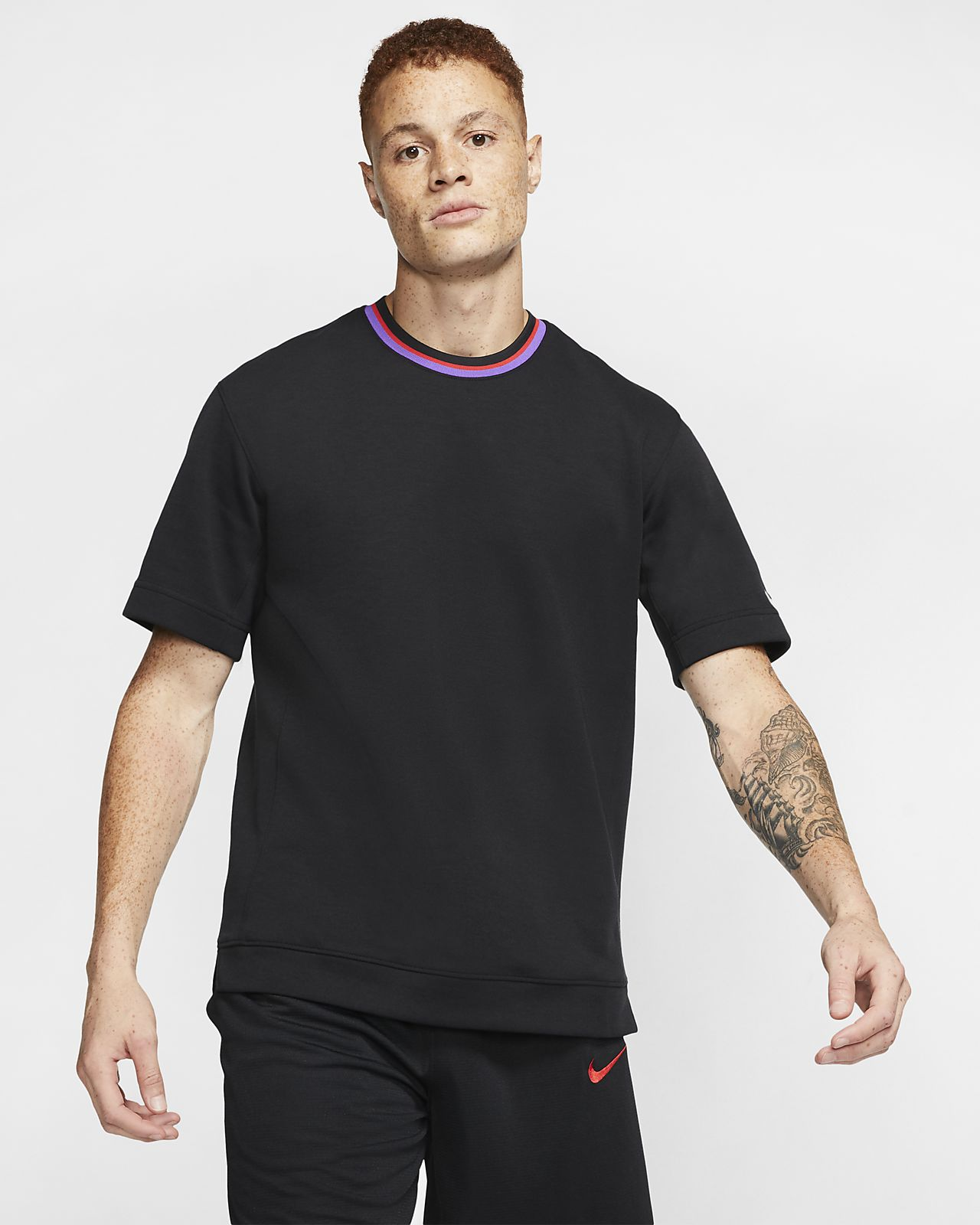 Nike Dri-FIT-basketballoverdel med korte ærmer til mænd