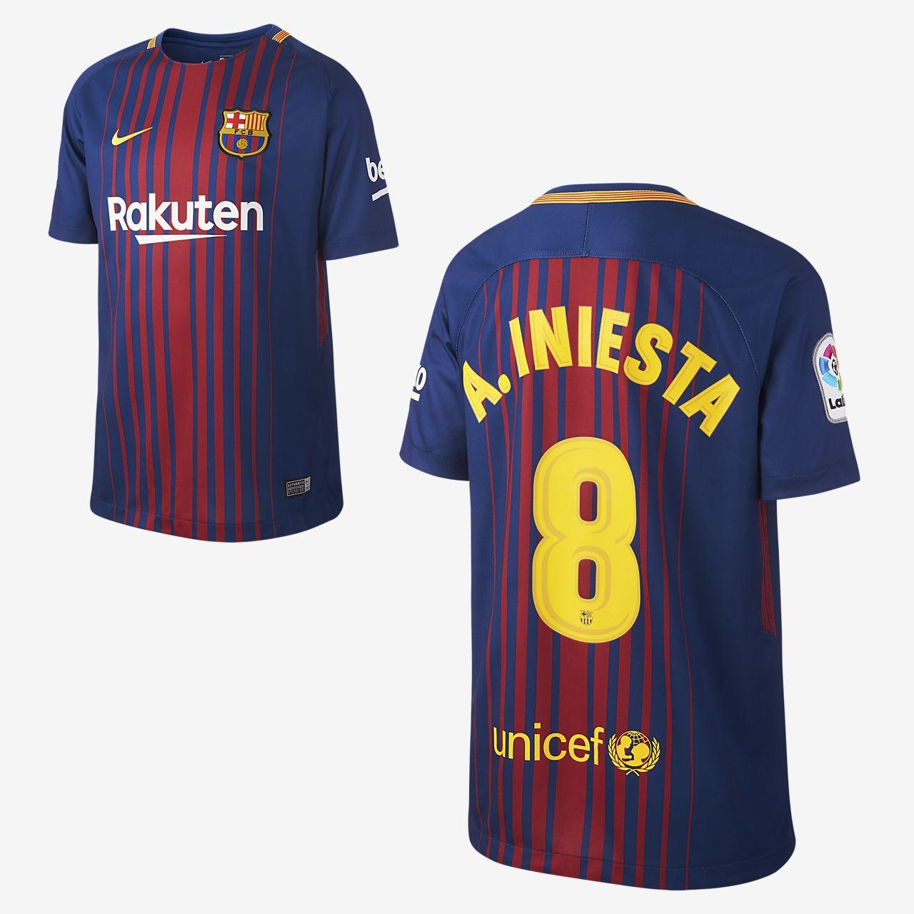 Camiseta de fútbol para niños talla grande de local del FC Barcelona  (Andres Iniesta) b10da897aaf