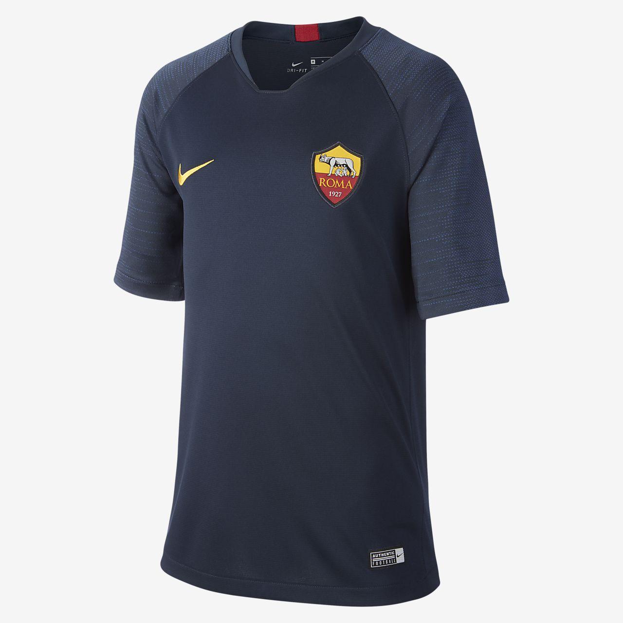 Camiseta de fútbol de manga corta para niños talla grande Nike Breathe A.S. Roma Strike