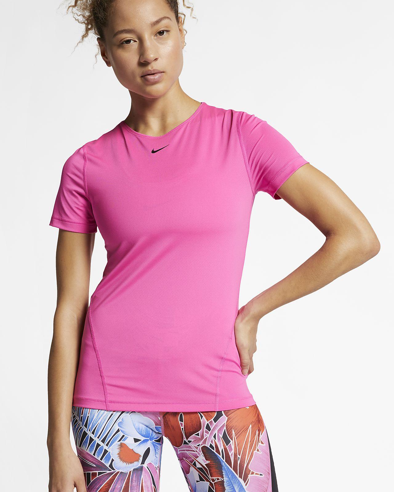 Γυναικεία κοντομάνικη μπλούζα προπόνησης από διχτυωτό υλικό Nike Pro