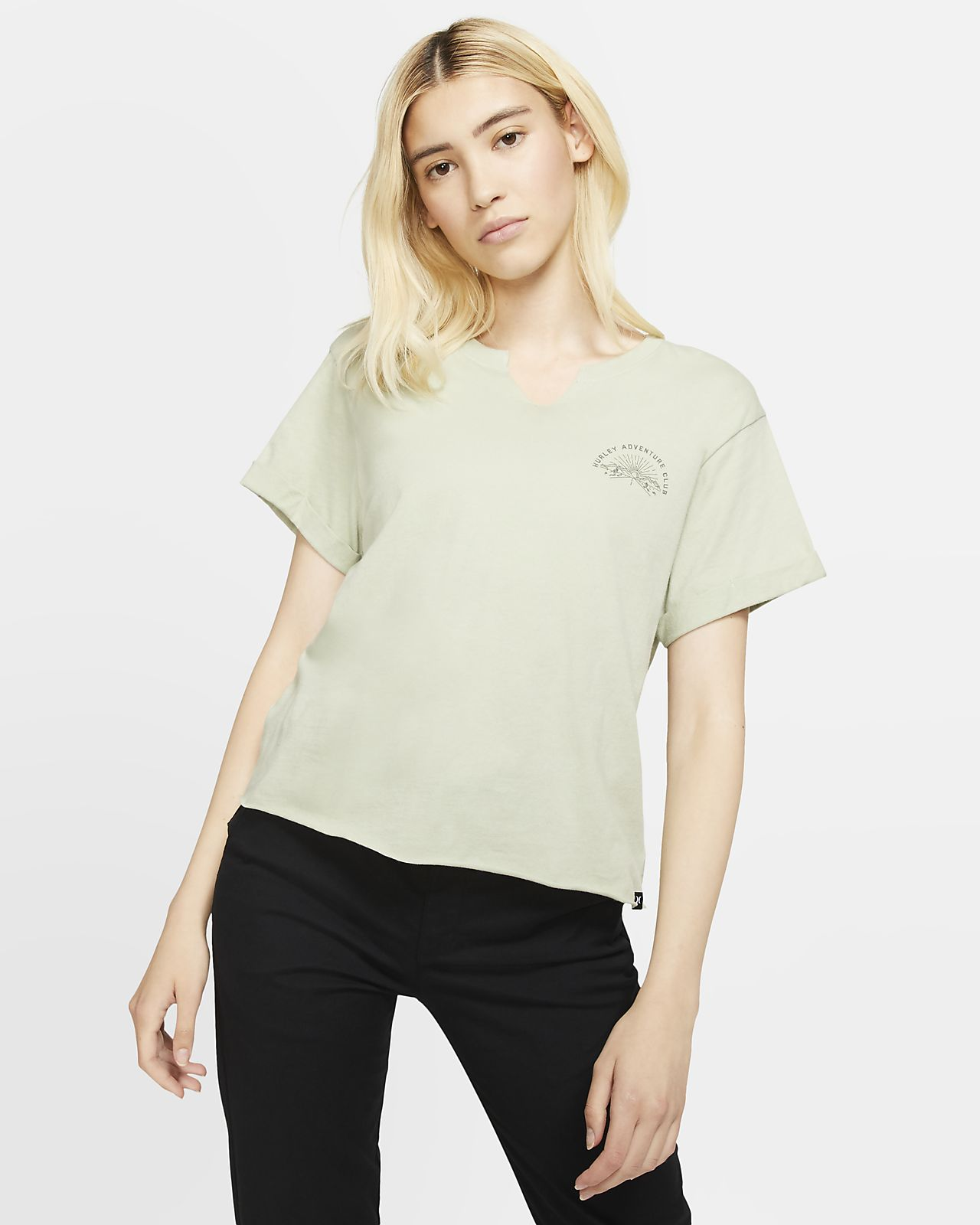 Hurley Adventure Club Women's Short-Sleeve Cropped Crew