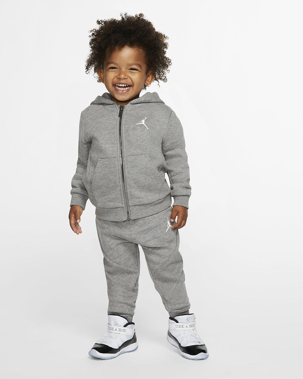 Μπλούζα με κουκούλα και παντελόνι φόρμας Jordan Jumpman για βρέφη (12-24Μ) (σετ 2 τεμαχίων)