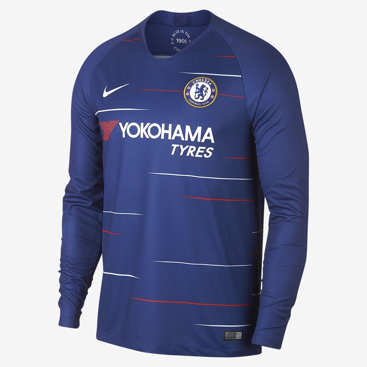 Camiseta de fútbol de manga larga para hombre de local Stadium del Chelsea  FC 2018  725165a02ad0e