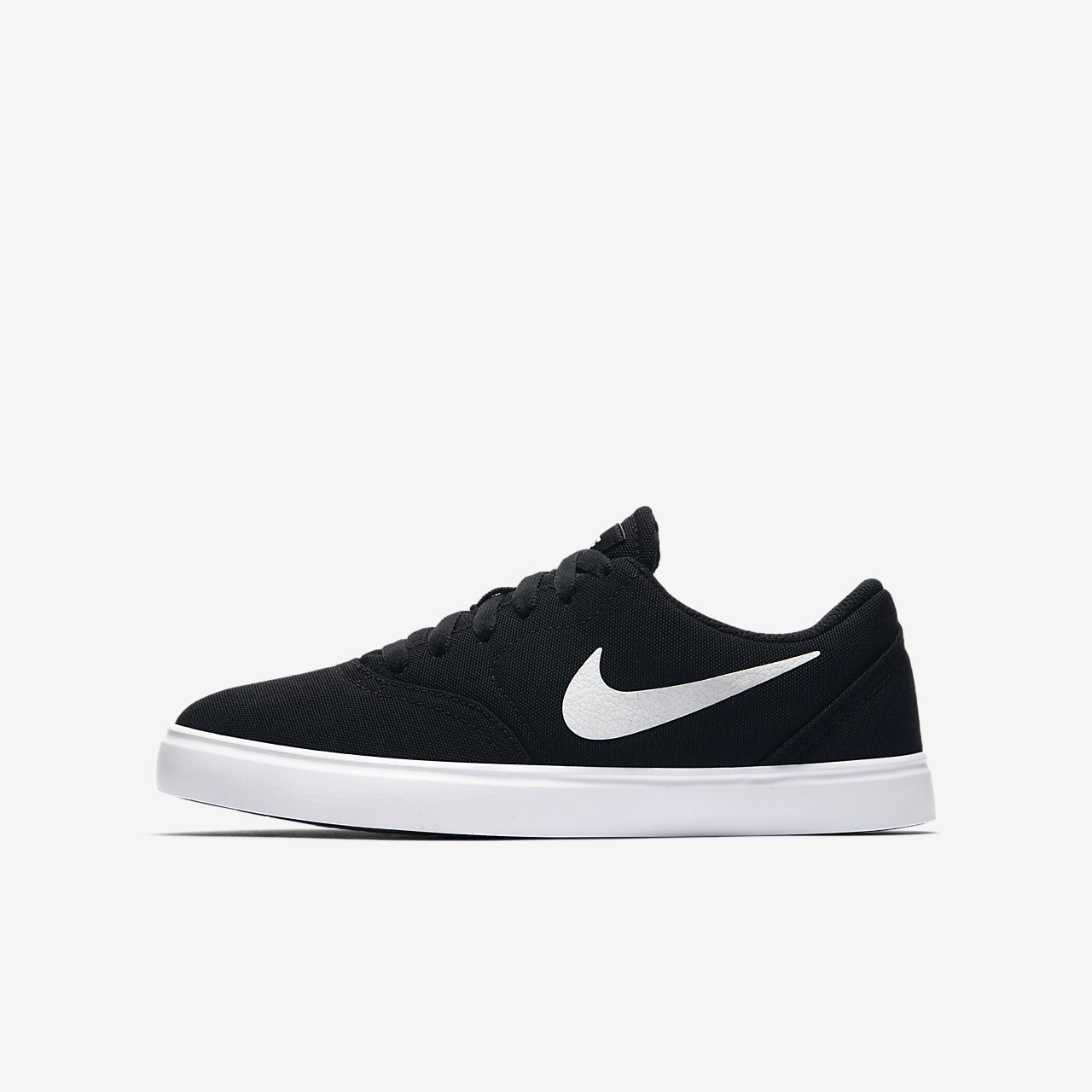 Nike SB Check Canvas Boys Skateboarding Shoes Black/White lD4338J