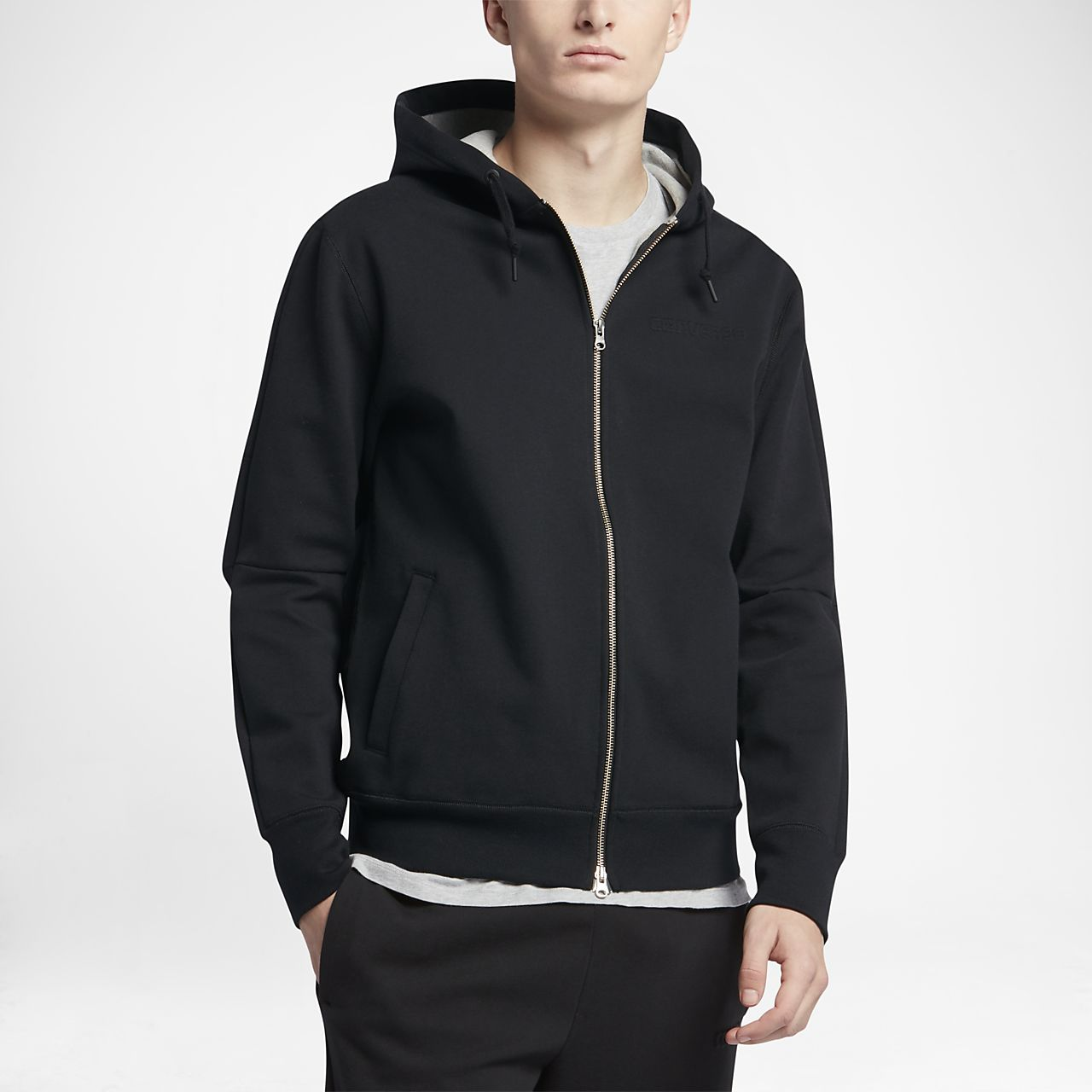 Converse Counter Climate Men's Full Zip Hoodie Men's Full Zip Hoodies Black