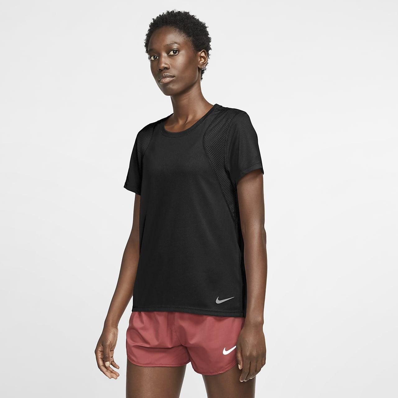 Nike-løbeoverdel med korte ærmer til kvinder