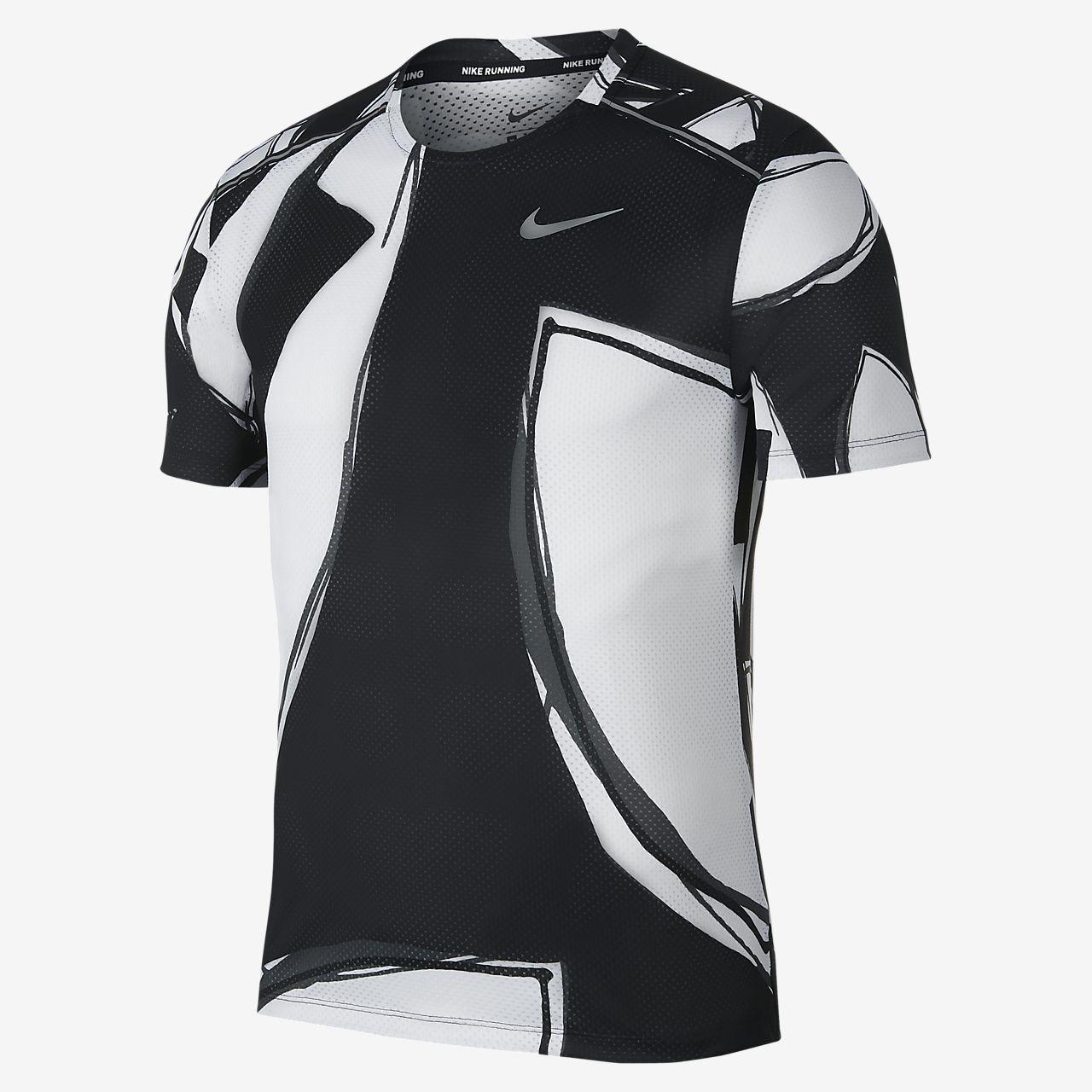 Nike Short Sleeves Jersey Dry Miler Black White Men