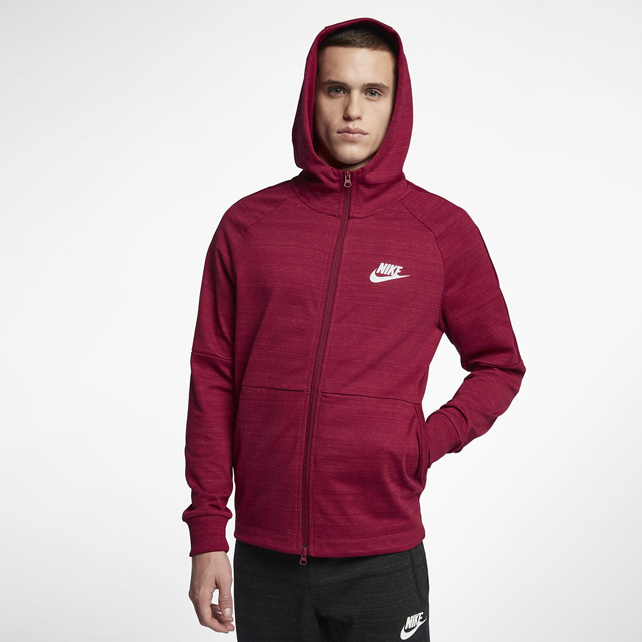 sweat capuche enti rement zipp nike sportswear advance 15 pour homme lu. Black Bedroom Furniture Sets. Home Design Ideas