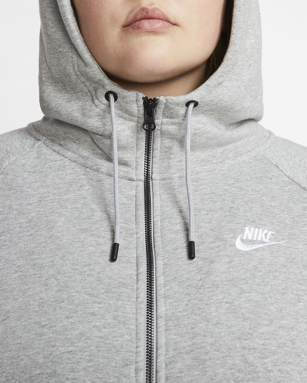 Bluza damska z kapturem Sporstwear Essential Full Zip Fleece Nike (grey)