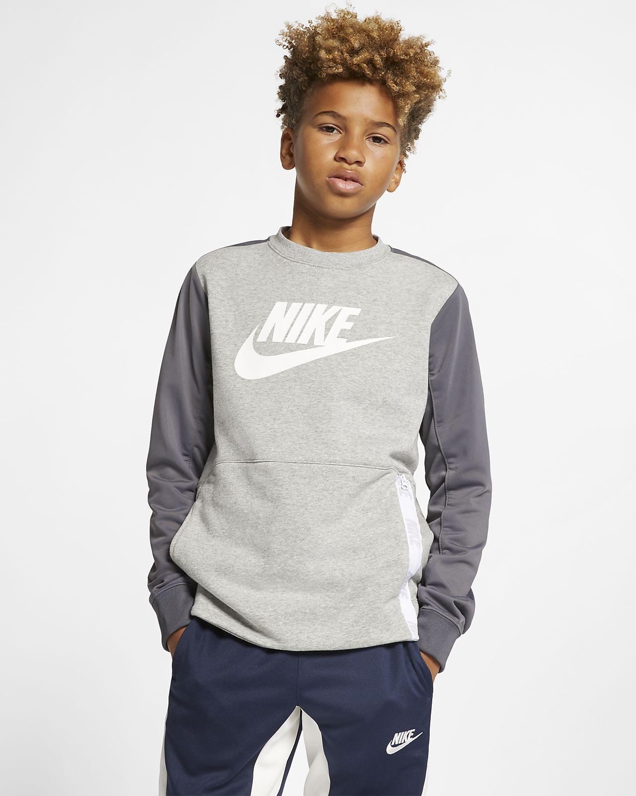 Sudadera para niños con cuello redondo talla grande Nike Sportswear