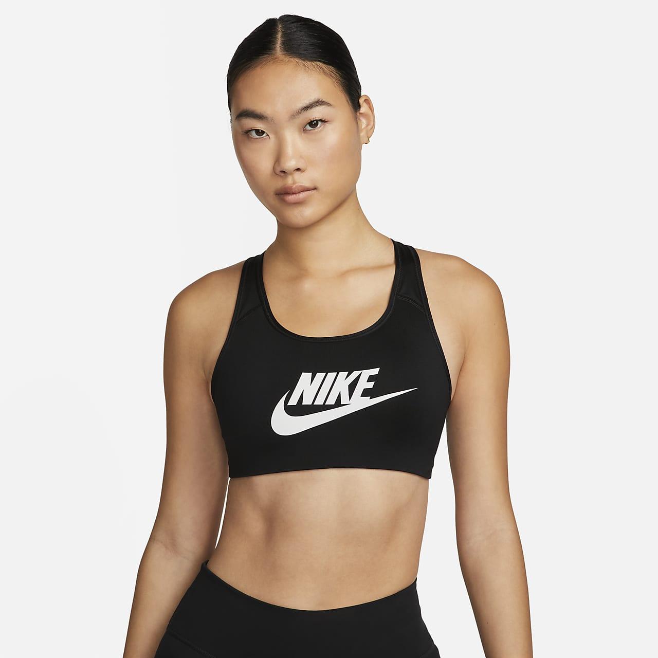 สปอร์ตบราผู้หญิงรองรับปานกลาง Nike Classic Swoosh Futura