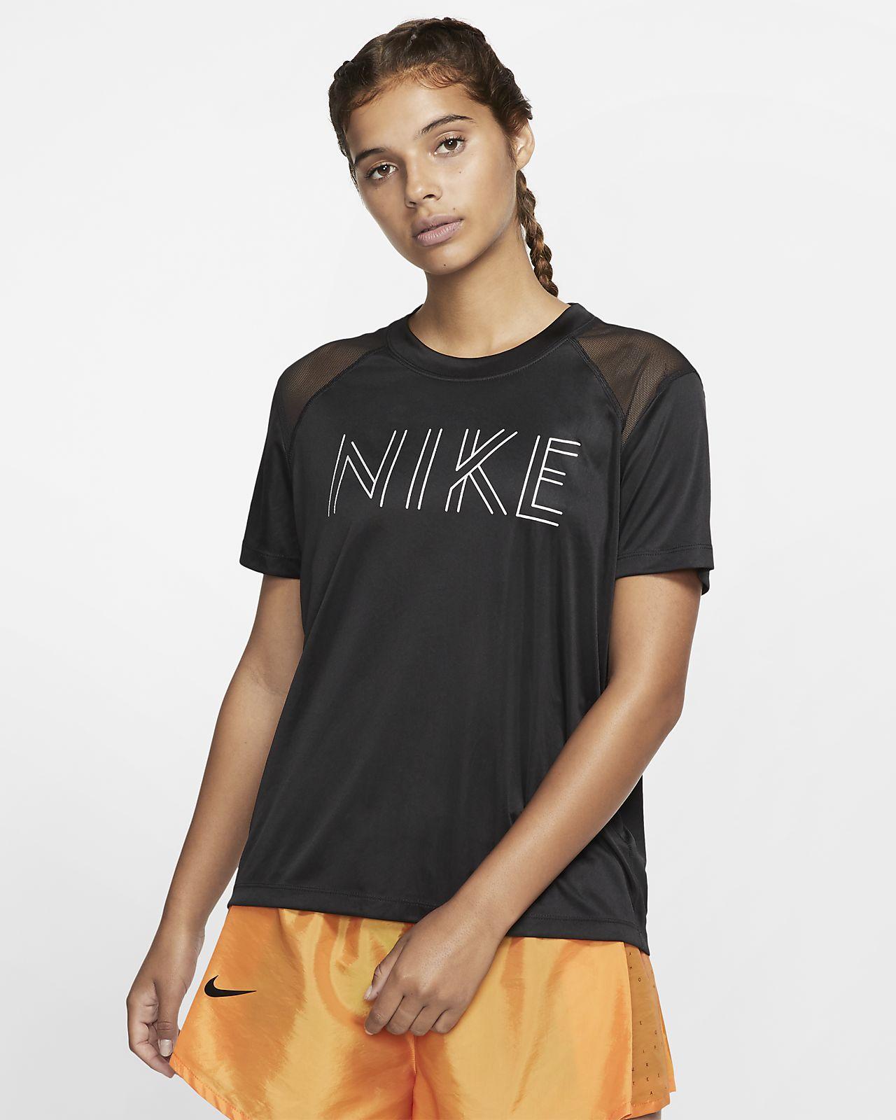 Haut de running métallisé à manches courtes Nike Dri FIT Miler pour Femme