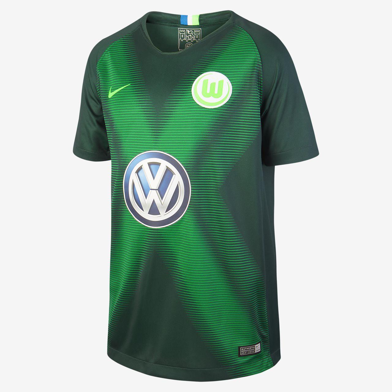 Camisola de futebol 2018 19 VfL Wolfsburg Stadium Home Júnior. Nike ... d60d7db2f0cae