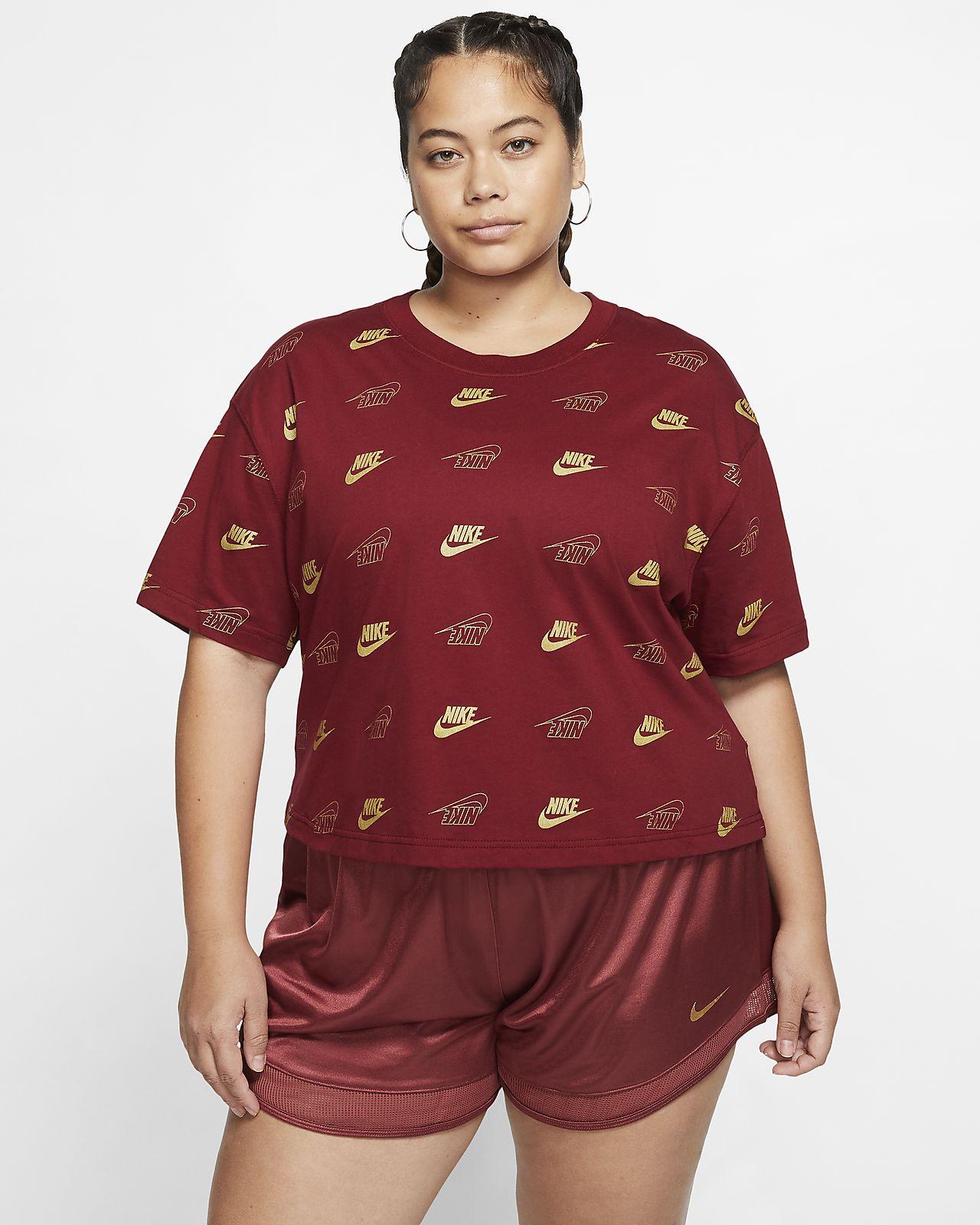 Damska koszulka o skróconym kroju z krótkim rękawem Nike Sportswear (duże rozmiary)