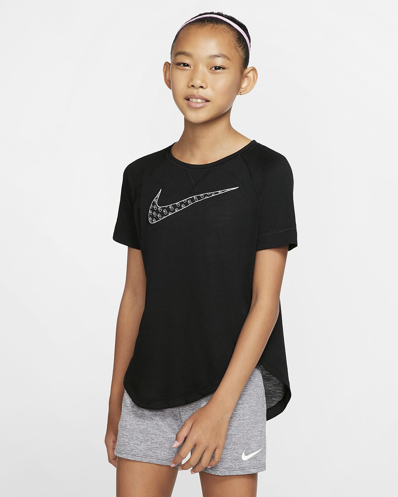 Nike Dri-FIT Trophy Big Kids' (Girls') Short-Sleeve Graphic Training Top