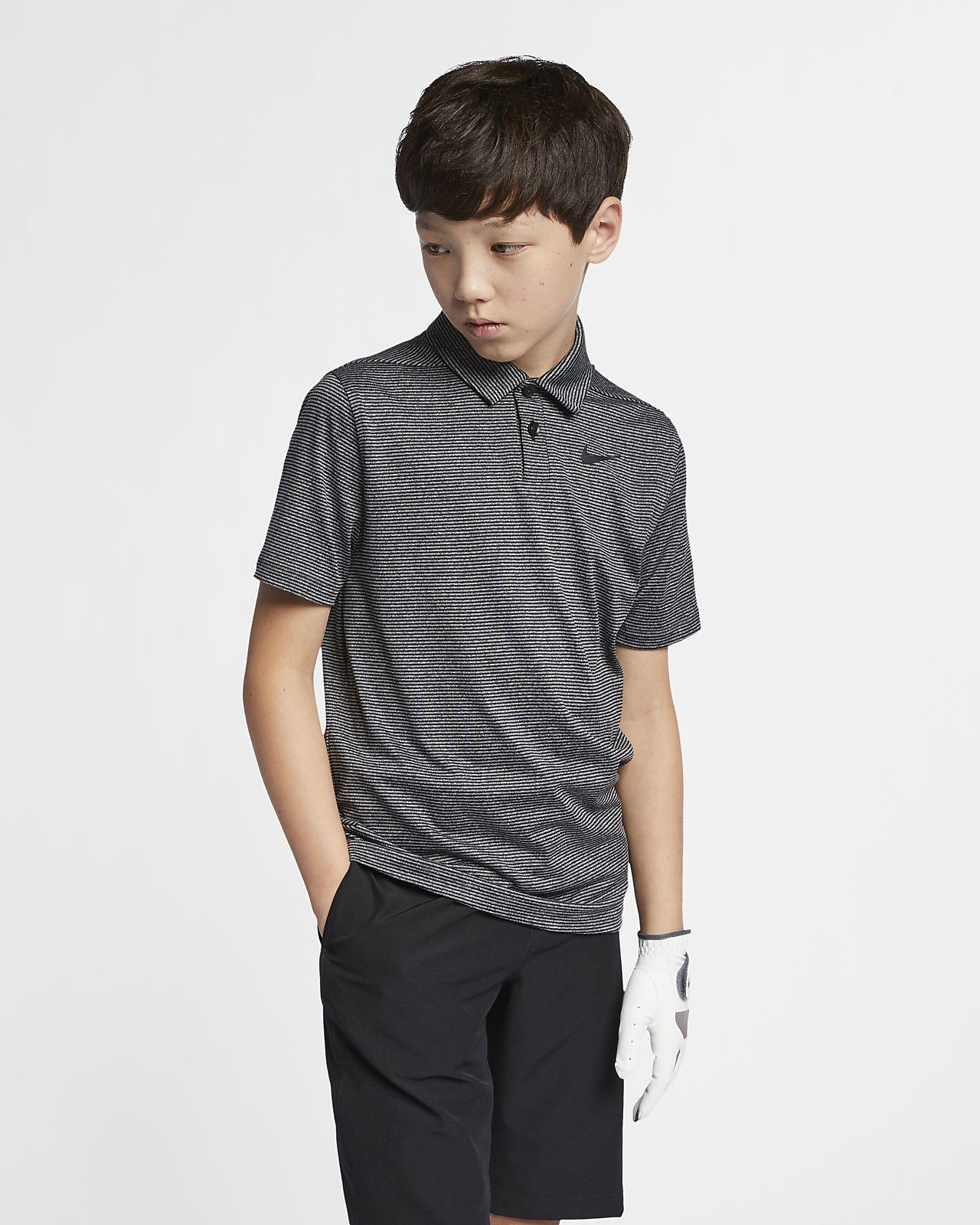 Nike Dri-FIT stripete golfskjorte til store barn (gutt)