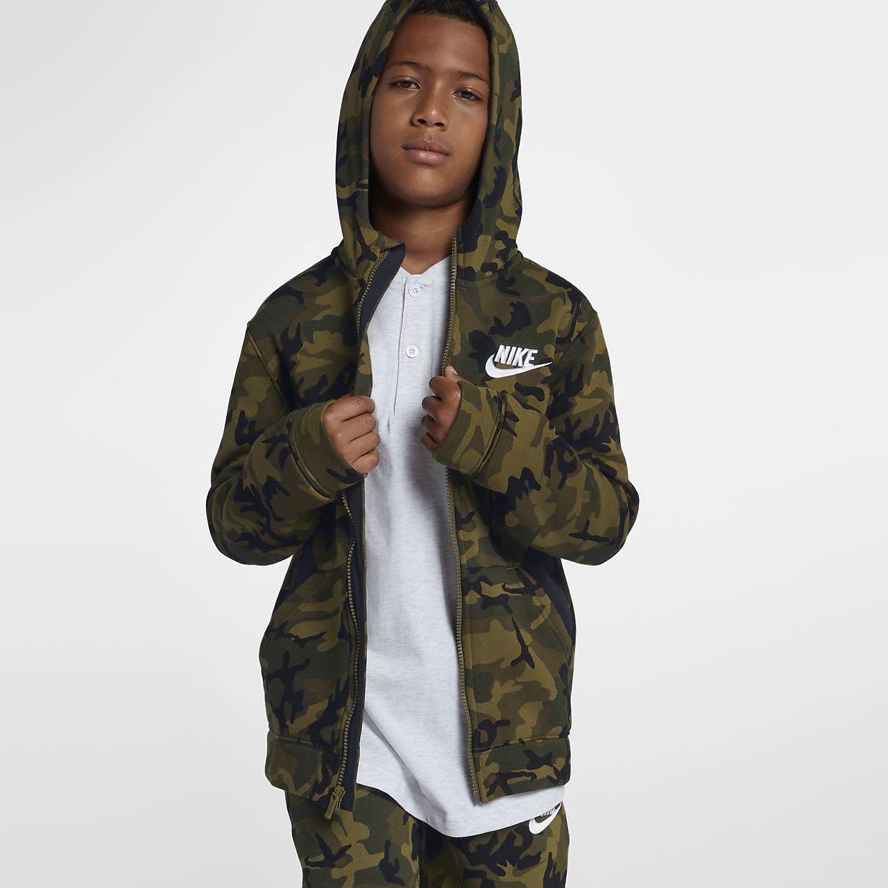 Felpa con cappuccio e zip a tutta lunghezza Club Fleece Nike Sportswear - Ragazzo