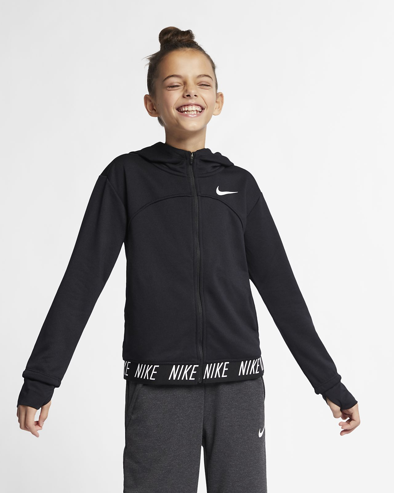 5de95730d0 Nike Dri-FIT Core Studio Big Kids' (Girls') Full-Zip Training Hoodie ...