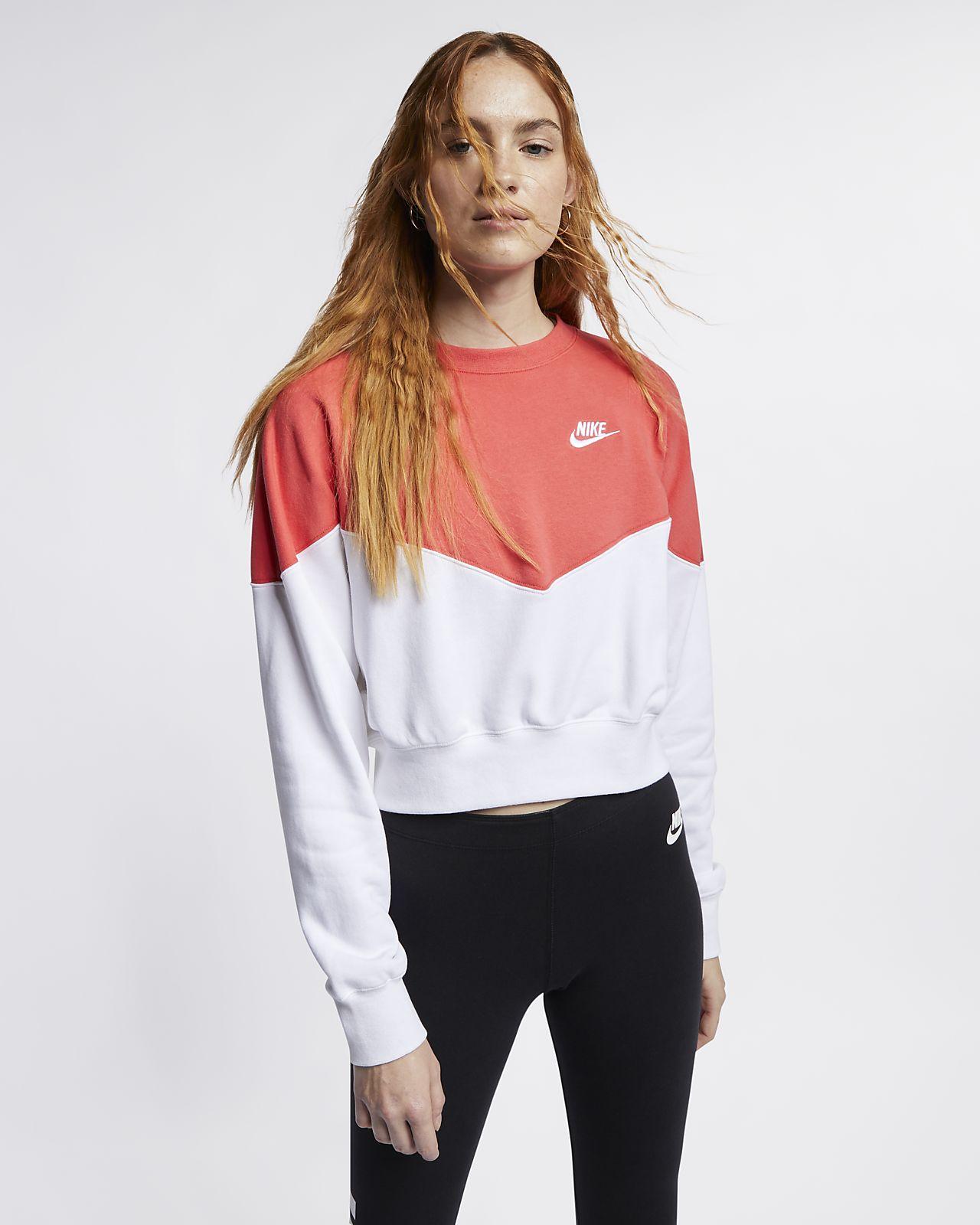 Γυναικεία φλις μπλούζα Nike Sportswear Heritage. Nike.com GR 28c68952791