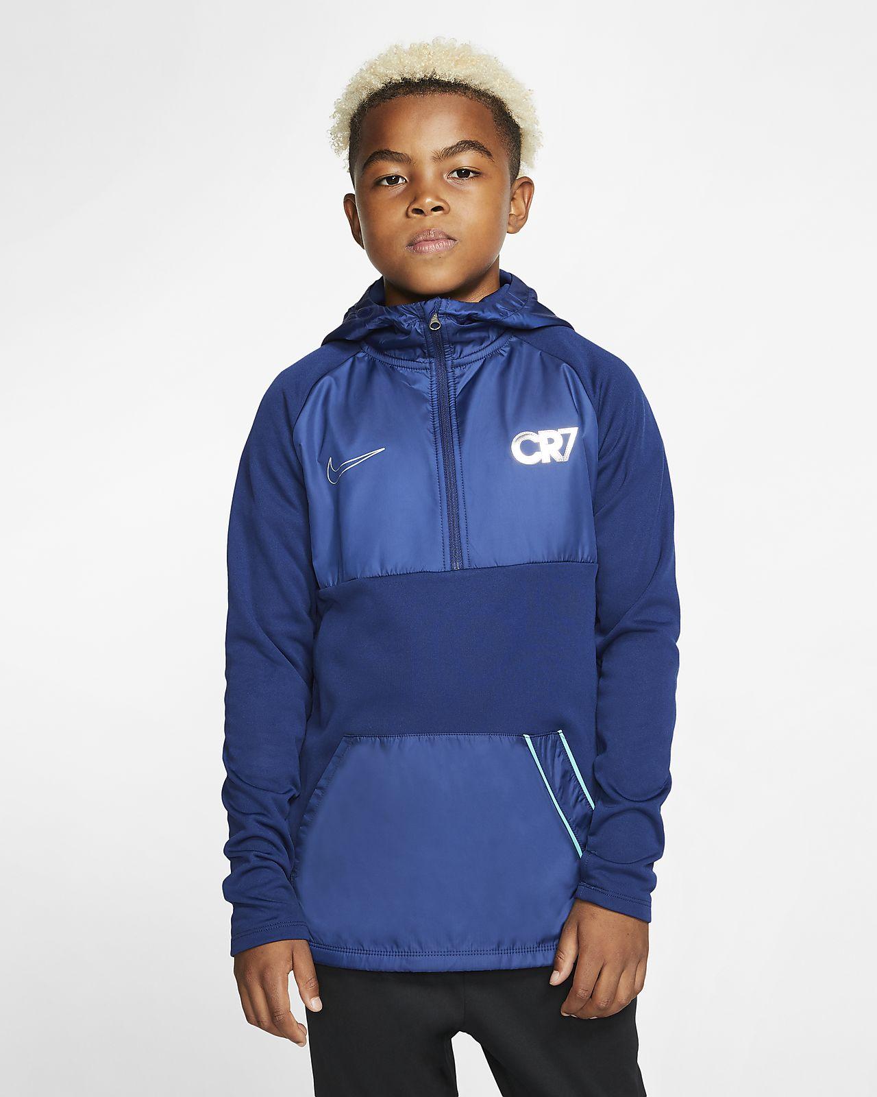 Ποδοσφαιρική μπλούζα προπόνησης με κουκούλα Nike Dri-FIT Repel CR7 για μεγάλα παιδιά